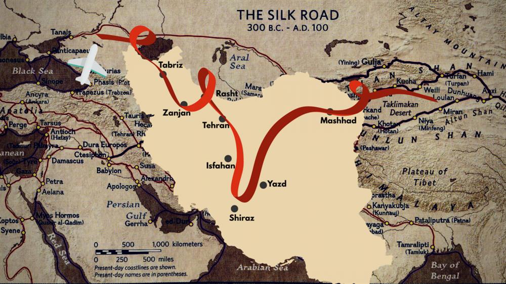تصویری از مسیر سفر تیم جاده ابریشم (Silk Road) در سال 1396