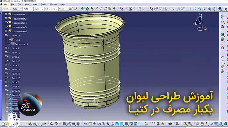 آموزش طراحی لیوان یکبار مصرف در کتیا CATIA