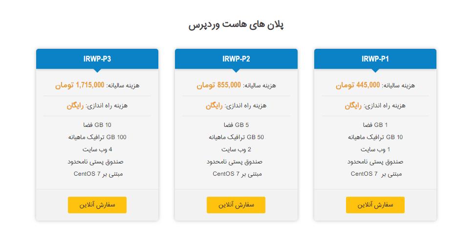 پلان های هاست وردپرس ایران هاست